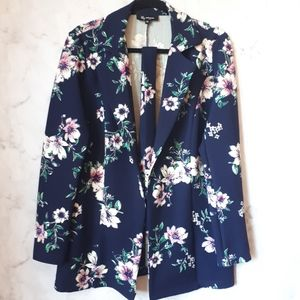 Lily Morgan Waffle Loose Fit Long Floral Blazer L